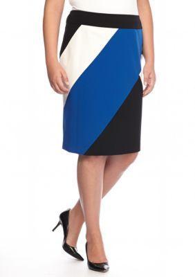 Nine West  Plus Size Color Block Skirt