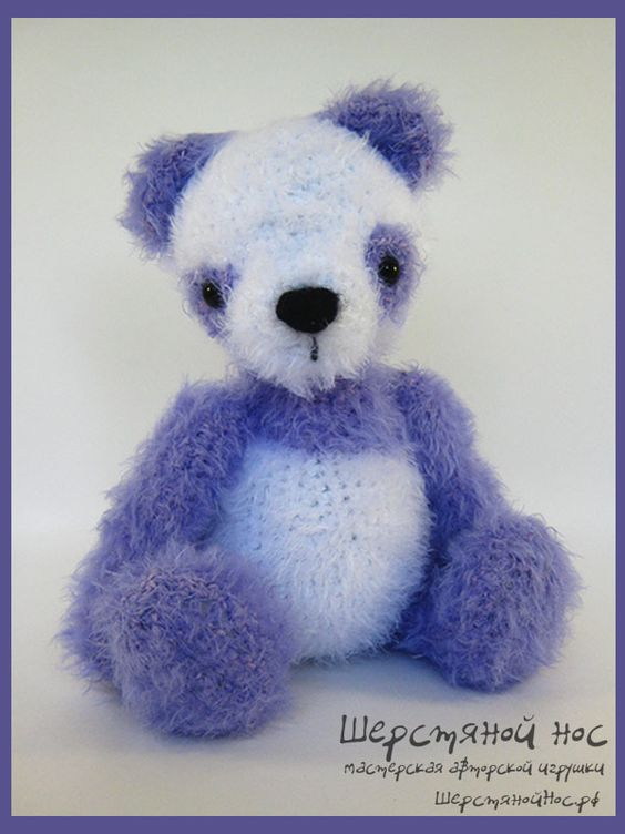"Сиреневый мишка-панда. Коллекция ""Малыши"" #teddybears #handmade #toys #teddybears #presents #knitting"
