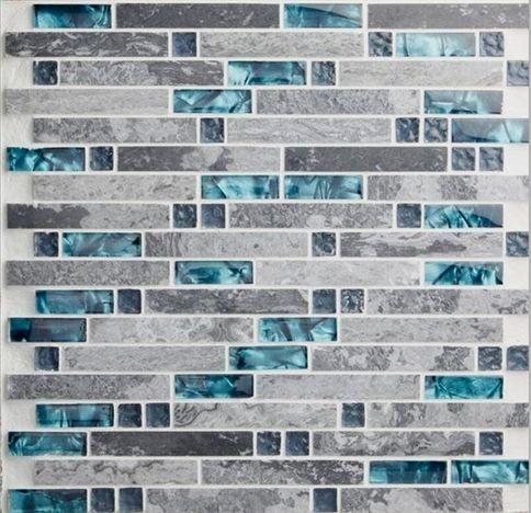 Gray Marble Backsplash Tiles Teal Blue Crystal Glass Tile Etsy Backsplashkitchen Marble Backsplash Marble Tile Backsplash Glass Mosaic Backsplash