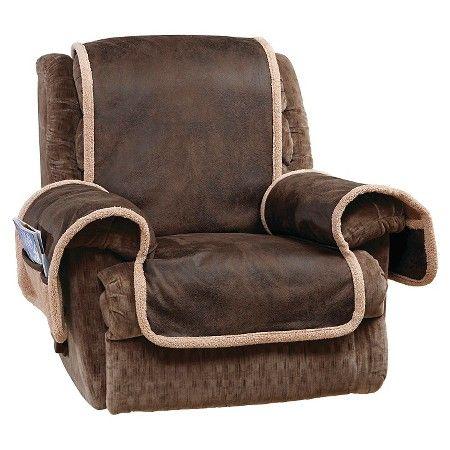 Vintage Leather Recliner Furniture Cover Brown - Sure Fit : Target