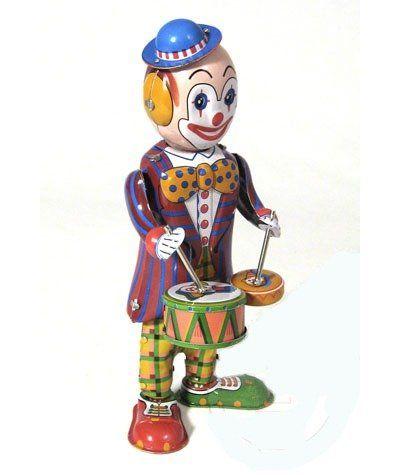 Blechspielzeug zum Aufziehen tin toys wind up new rare-Clown spielt schlägt Trommel Spielzeug rot blau Tintoys http://www.amazon.de/dp/B00JNO0UIQ/ref=cm_sw_r_pi_dp_nItXub0ZF4HE9
