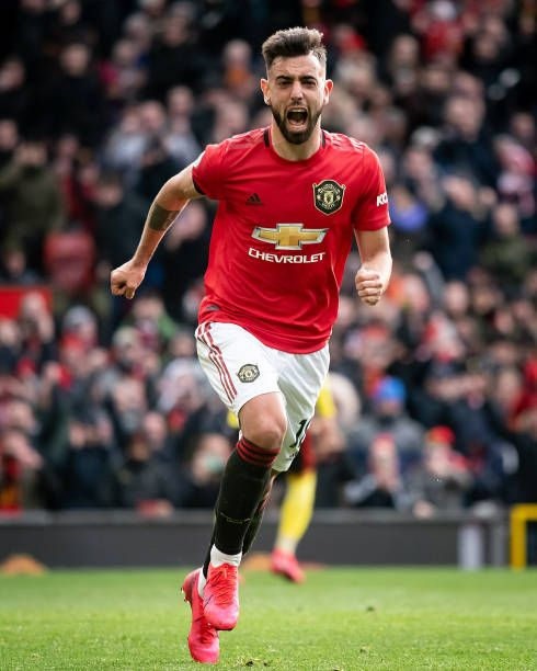Bruno Fernandes Celebrates His Goal Against Watford Getty Images In 2020 Mufc Manchester United Manchester United Soccer Manchester United Fans