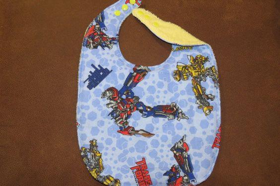 Large Toddler Bib Preschool Bib Preschool Transformers Bib Flannel, Terry Cloth…