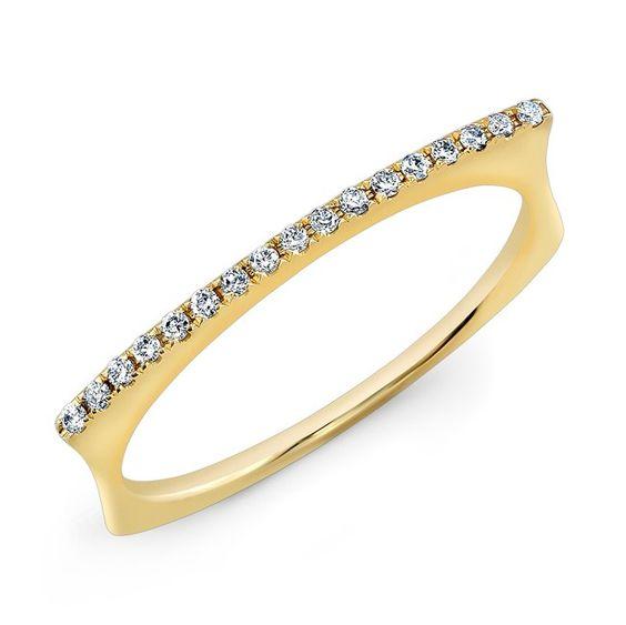 "14KT Yellow Gold Diamond Bar Dome Ring Diamond Bar Ring Measures 3/4"" in length"