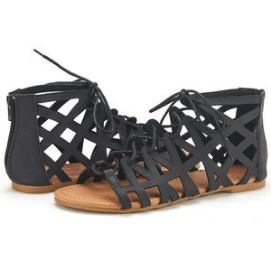 DREAM PAIRS MILLER New Women's Cutout Lace-Up Open Toe Ankle Strap Gladiator Flat Sandals BLACK SIZE 5
