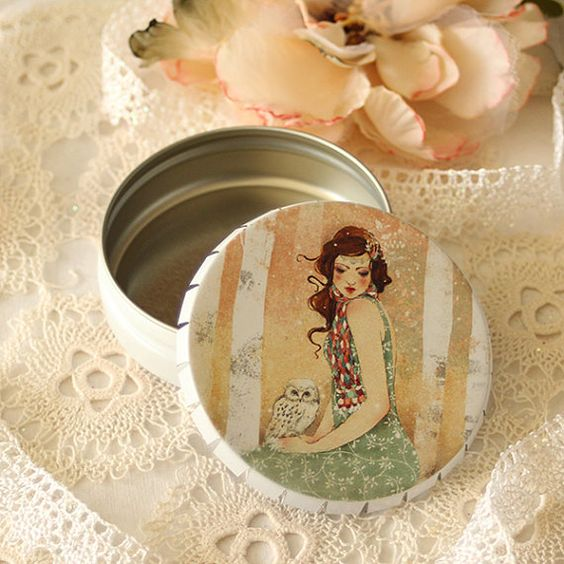 Box - Pill Box - Mademoiselle Snow by Minasmoke on Etsy