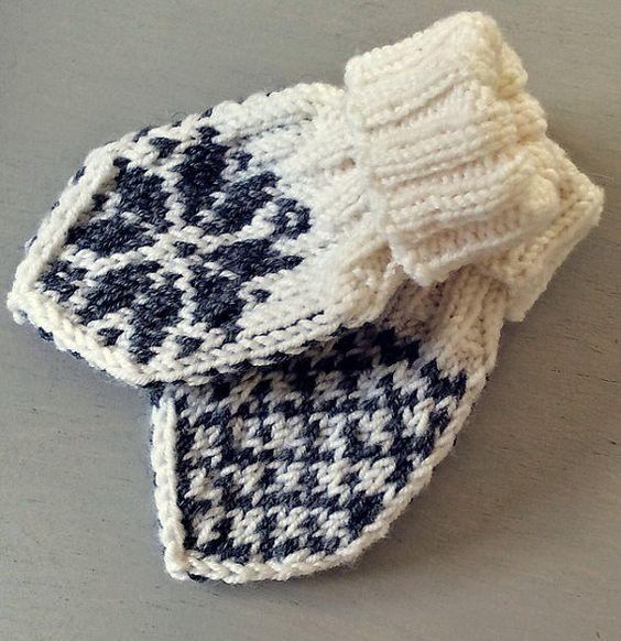 Knitting Pattern For Baby Winter Mittens Norwegian Selbu Fair