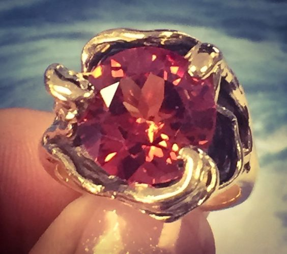 Synthetic Padparadscha Sapphire Lady's Stone Ring 14K Yellow Gold 12.2g Size:7