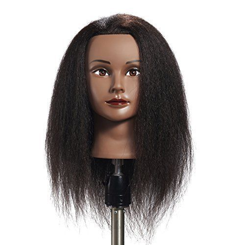 New Afro Mannequin Head 100 Real Hair Hairdresser Training Doll Head Manikin Hairginkgo Custom Hair Mannequin Hairdressing Training Mannequin Heads