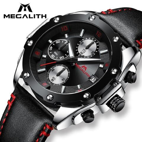 Megalith Fashion Sports Watches Mens Military Chronograph Waterproof Black Leather Quartz Wristswat Watches For Men Watches Women Black Mens Watches Waterproof