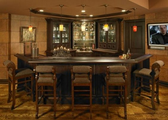 Daft Little Home Bar With Traditional Darkwood Furniture Design ...