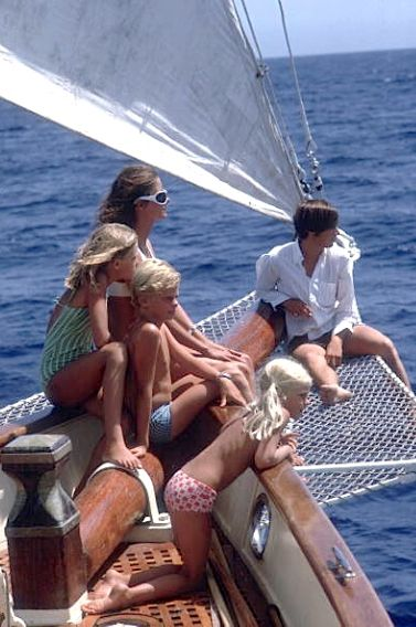 The Guinness family sailing on the Costa Smeralda, Sardinia, August 1967. Photo by Slim Aarons.:
