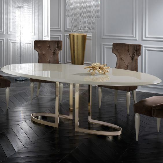 Interior Design Ideas For A Glamorous Dining Room Oval Table Dining Oval Dining Room Table Contemporary Dining Table