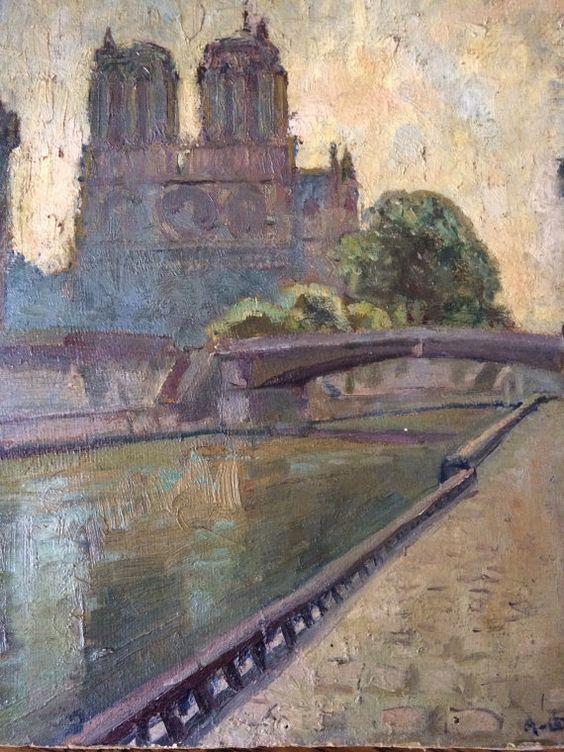 Paris Notre Dame de Paris French oil painting by Albanegalery, $75.00