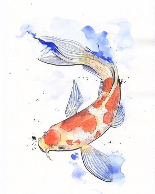 Inktober 20 All Colored In This Koi Is Done Illustration Koi Pen Ink Fish Watercolor Art Watercolorart Koi Painting Koi Fish Drawing Watercolor Fish