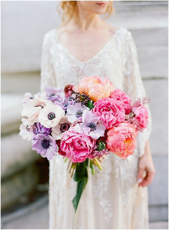 I like how colorful this is | Anenome and peony bouquet | White and lavender anenome and pink and peach peony bouquet