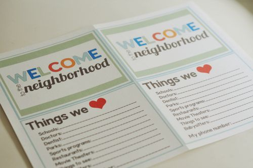 Welcome To The Neighborhood Goo Bag Printable Neighbor Gifts Pinterest