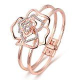 "Dilanco 18K Rose Gold Plated ""Rose Shape"" Open Bangle Bracelets for Women,Valentine's Day Gift"