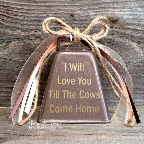 Love & Cows Cowbell. Cattle, Dairy, Ranch, Anniversary, Wedding Gift, Christmas Gift, Christmas Wall Art. Christmas Decorations. Rustic Home Decor, Western Home Decor, Country Home Decor, Cabin Decor, Lodge, Cowgirl, Cowboy, Barbwire, Ranches, Farm, Gifts, Interior Accents. Horseshoe Decor, HorseShoeFever, Etsy. I Will Love You Till The Cows Come Home.