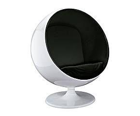 Sillón en fibra de vidrio lacado con cojín – blanco y negro