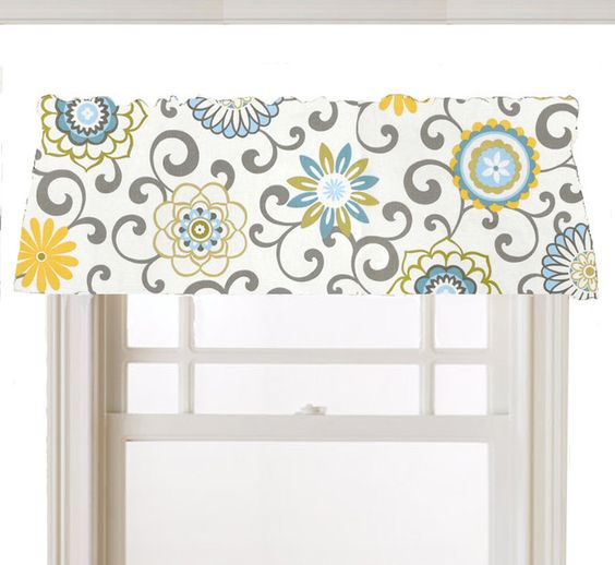 window topper valance mod flowers gray white yellow. Black Bedroom Furniture Sets. Home Design Ideas