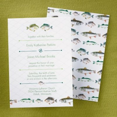 The o 39 jays themed weddings and wedding on pinterest for Fishing wedding invitations
