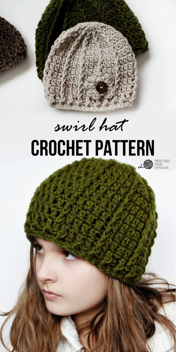 Crochet Beanie Pattern - Swirl Hat by Rescued Paw Designs. Click to read more or pin and save for later!