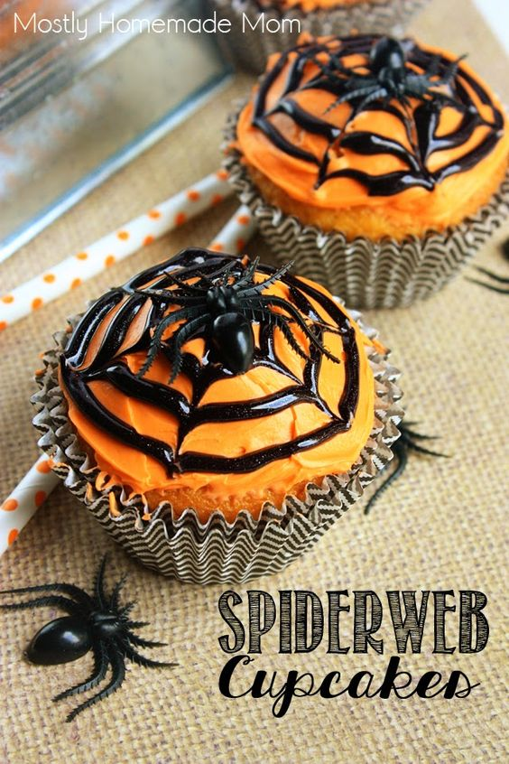 Spiderweb Cupcakes - Orange frosting, black decorator icing, and a toothpick are all it takes to decorate these adorable cupcakes perfect for Halloween!