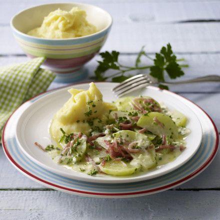 Kartoffelpüree mit Kräuterkohlrabi und Schnippelschinken Rezept
