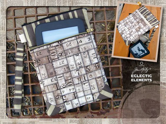 Eclectic Elements by Tim Holtz for Coats - Double Zipper Device Sleeve | Sew4Home   Tasche mit 2 Fächern für Buch oder Reader