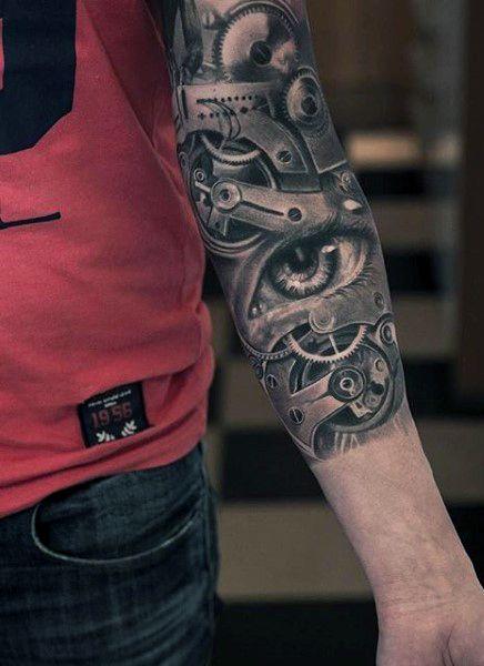 Clock Tattoos For Guys: Gear Men's Half Sleeve Clock Tattoo