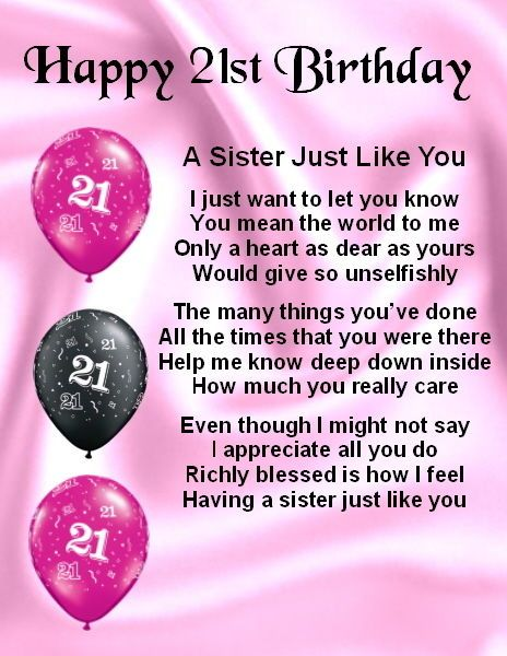 21st Birthday Wishes For A Sister ~ Fridge magnet personalised sister poem st birthday free gift box boxes