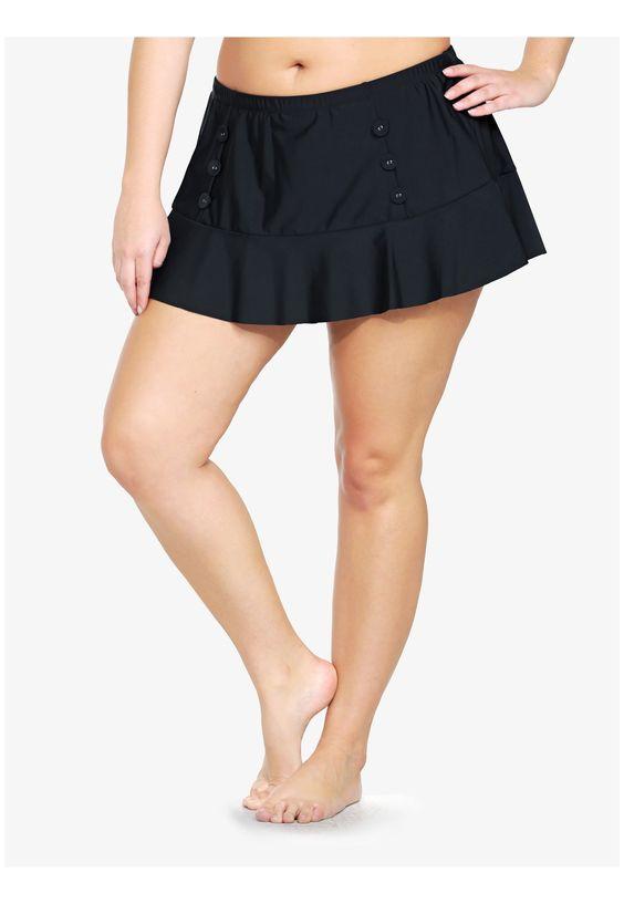 Button Front Swim Skirt
