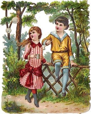 Glanzbilder - Victorian Die Cut - Victorian Scrap - Tube Victorienne - Glansbilleder - Plaatjes : Mädchen und Junge