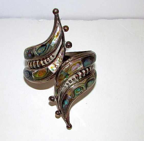 Taxco Mexican Sterling Silver 925 Eagle Mark Abalone Shell Large Clamper Bypass Bracelet 40gr