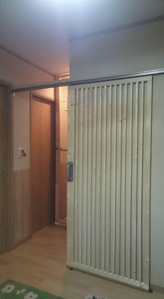 玄関の猫脱走防止ドア 2号機完成 エコ引き戸 Diy 引き戸 Diy 引き戸 ドアリフォーム