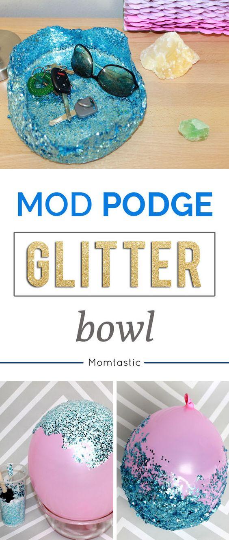 Diy mod podge glitter and bowls on pinterest for Glitter bowl