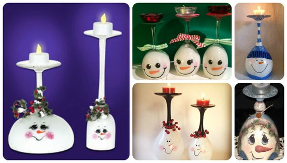 Showcase collection of 25 of the most amazing Snowman Wine Glass Candle Holders which are painted upside down with a votive candle at the top (which was the base of the wineglass).