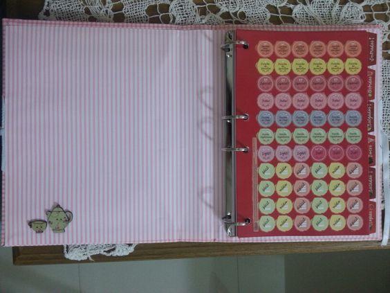 Livro de receitas xadrez com interno listrado