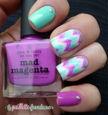 piCture pOlish 'Mad Magenta' features in this mani creation by La Paillette Frondeuse!  Buy on-line now:  www.picturepolish.com.au