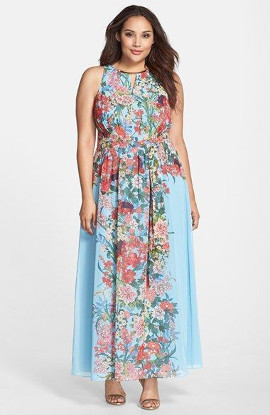 plus chiffon dress floral