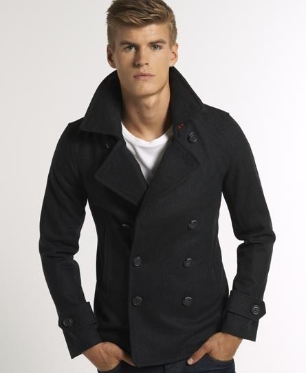 Mens Superdry Commodity Pea Coat Navy Size Large Wool Mix