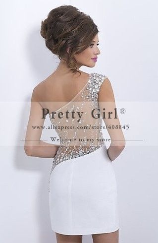2015 Vestidos De Curto Sheer Crystal Beading One Shoulder Sheath Short Party Dress Sexy See Through Back Cocktail Dress