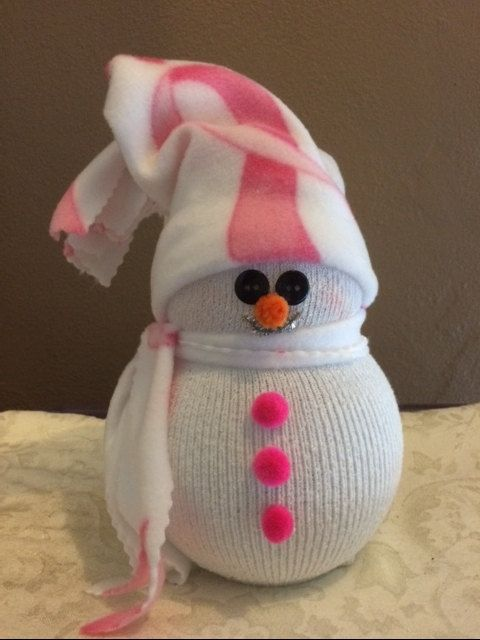 Lighted Snowman Breast Cancer Awareness Pink Ribbon by Traveliz