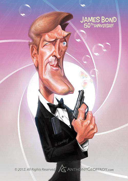 Roger Moore James Bond 50th Anniversary by Anthony Geoffroy, via Behance