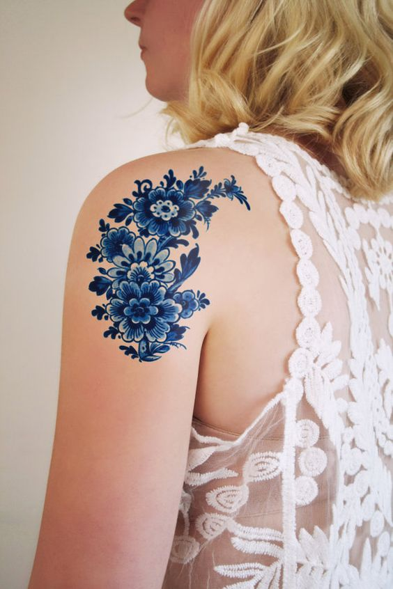 Large floral vintage Dutch 'Delfts Blauw' temporary tattoo by Tattoorary on Etsy