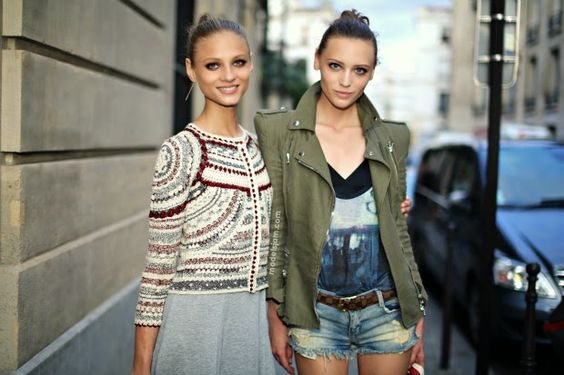 double trouble. #AnnaSelezneva & #MilaKrasnoiarova #offduty in Paris.