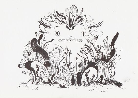 KARPORTEN  Karina Posborg - ink - dragons - creatures - character design - monster - bloob - woobly - artwork - doodle - what will happen?