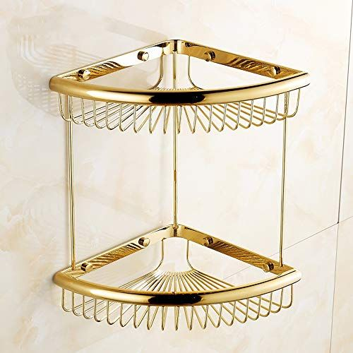 Lifxx Double Brass Shower Shelf Wall Mounted Storage Basket Hanging Gold Plating Corner Frame Triangle Net Bracket Retro Bathrooms Bathroom Accessories Shower Shelves