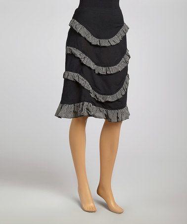 Another great find on #zulily! Black & White Ruffle Tier Skirt - Women #zulilyfinds